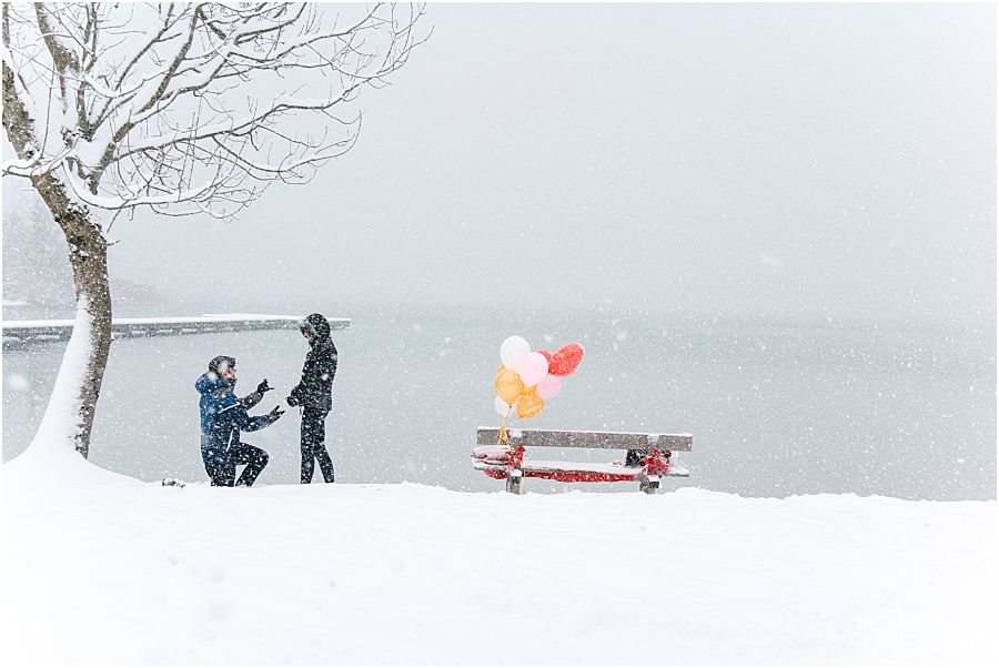 Surprise Proposal in the snow storm Austria Salzburg