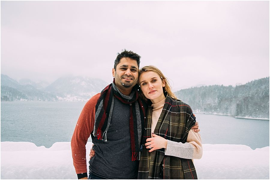 Engagement pictures after surprise proposal in the snow