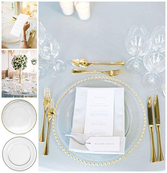 Glass charger plates rental Salzburg, Verleih Glasteller  gold und silber Salzburg